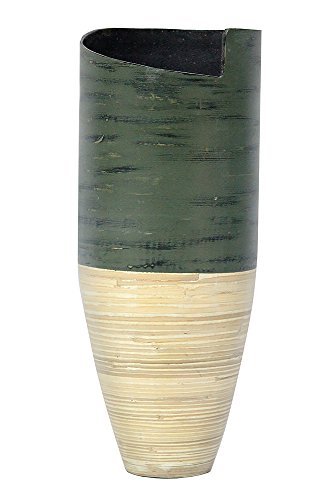 Heather Ann Creations Garmin Collection Handcrafted Decorative Bamboo Bullet Shape Vase with Dark Grey and Natural ()
