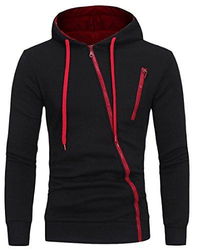 Suncolor8 Mens Classic Color Block Drawstring Hoodie Oblique Zipper Sweatshirt Black (Classic Drawstring Pullover)