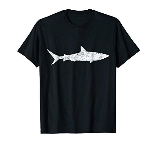 Mens Shark Retro Vintage T-Shirt 70s Distressed Throwback Tee 2XL ()