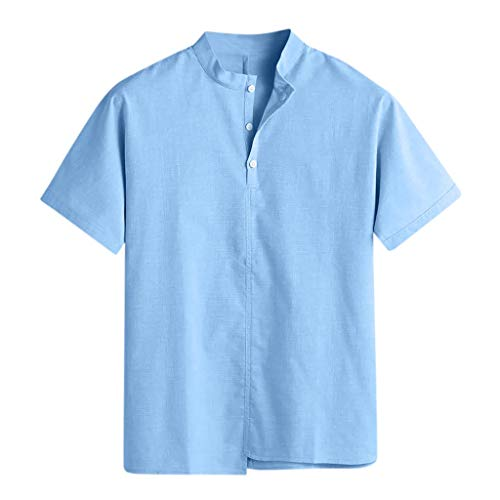 Benficial Men's Baggy Cotton Linen Solid Stand Collar Short Sleeve T Shirts Tops Blouses Light Blue