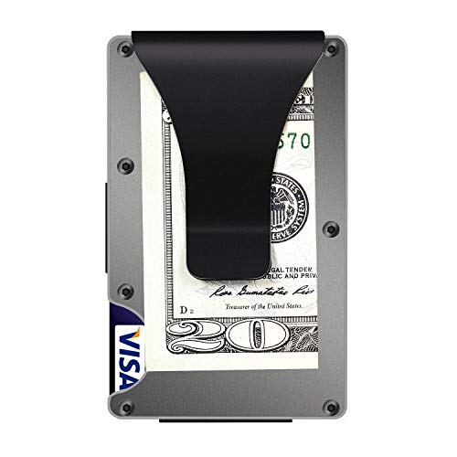 (Aluminum Metal Mens Wallet Money Clip Wallets for Men Front Minimalist Wallet Slim Wallet RFID (Grey))