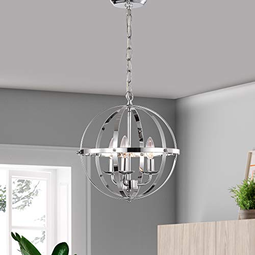 Chandeliers Orb Chandelier Three- Light Pendant Lighting Globe Chandeliers for Foyer Lighting Adjustable Pendant Light Fixtures Chrome Chandelier with UL - Pendant Adjustable Chrome