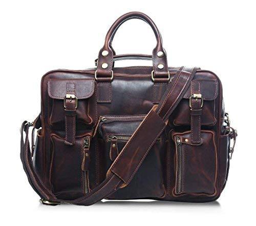 Maletas de Viaje de Equipaje de Cuero Vintage de los Hombres Moda de Hombre Solo Hombro colgado maletín portátil (Color : Dark Brown, ...