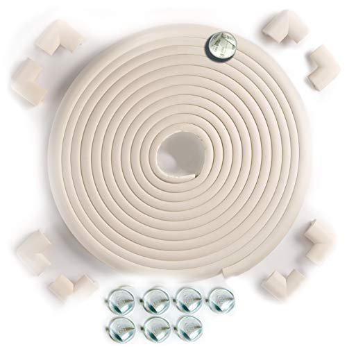 23.2ft 16 Baby Proofing Corner Guards | SafeBaby & Child Safety Table Corner Protectors | Foam and Clear Furniture Protective Bumper Pads | Toddlers Childproofing Brick Fireplace Cushion. Oyster White ()