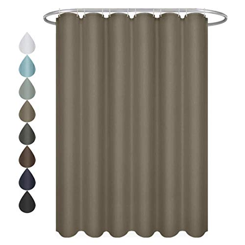 (Eforgift Chocolate Shower Curtain Water Proof with Sturdy Grommets,Fabric Bath Curtain for Hotel and Home Decoration, Extra Long 72 x 78-inch)