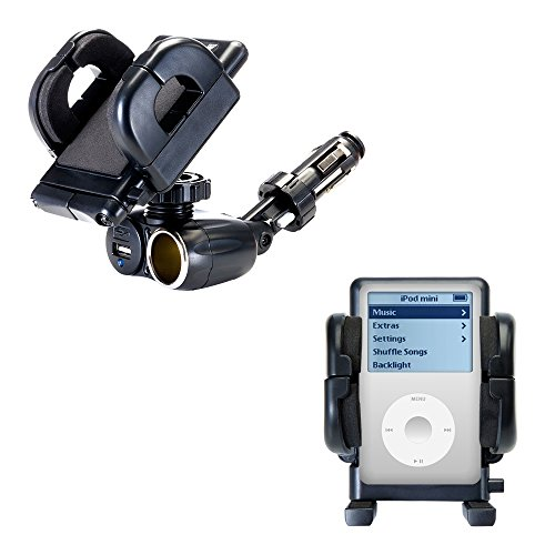 Dual USB / 12V Charger Car Cigarette Lighter Mount and Holder for the Apple iPod 4G (40GB)