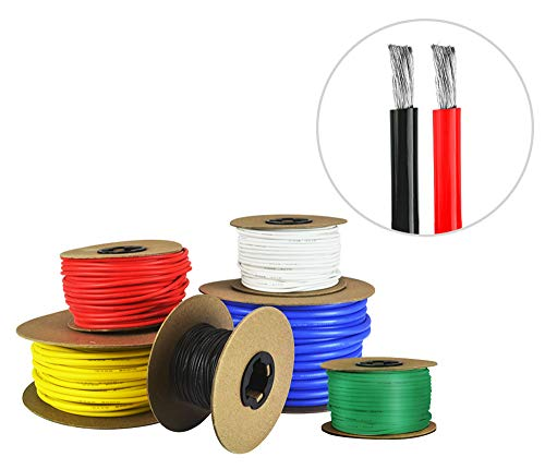 12 AWG Gauge Silicone Wire - Fine Strand Tinned Copper - 25 Feet Red, 25 Feet Black