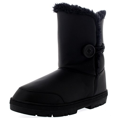 Womens Single Button Waterproof Winter Snow Boots - 9 - BLL40 EA0257