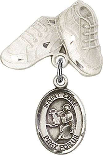 (Sterling Silver Baby Badge Baby Boots Pin with Saint Luke the Apostle Charm, 3/4 Inch)