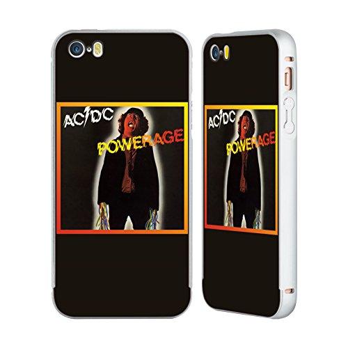 Officiel AC/DC ACDC Powerrage Couverture D'album Argent Étui Coque Aluminium Bumper Slider pour Apple iPhone 5 / 5s / SE
