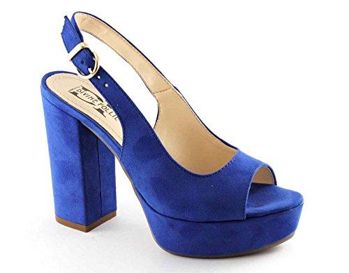 talón sandalias azul correa azul DIVINA SP247 las Blu aciano en el de mujeres LOCURA mesetas EvSq8O