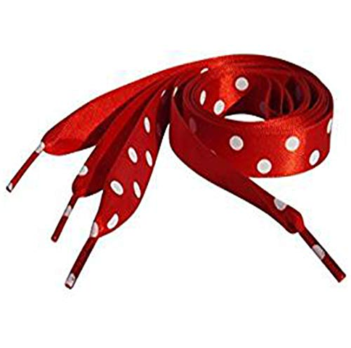 2547aaeed90439 High Fashion Red Polka Dot Satin Ribbon Shoe Laces   Shoe Strings To Fit  Converse Sneakers in Lo s   Hi Tops   Similar Kicks Pumps Trainers.