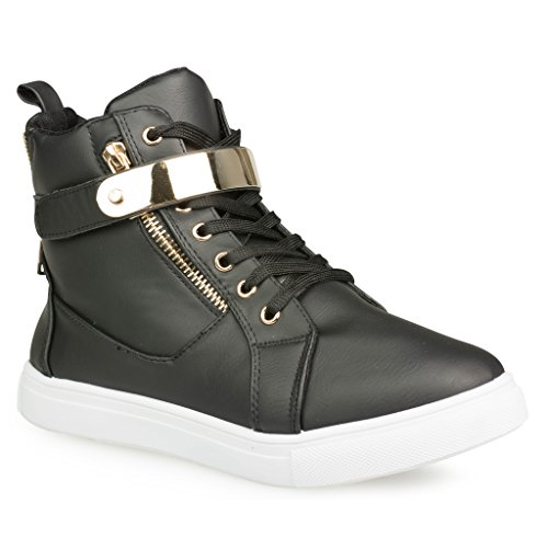 Twisted Women's Addison Faux Leather Hi-Top Fashion Sneaker with Metallic Velcro Strap- BLACK, Size 9 (Girls Hi Top Sneakers compare prices)