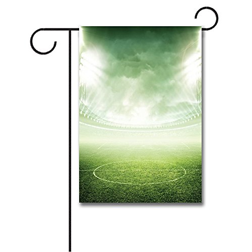 Wondertify Garden Flags Soccer Illuminated Stadium at Night Football Arena Activity Grass Playground Double Sided House Decoration Polyester Garden Flag 18 X 27 Inches