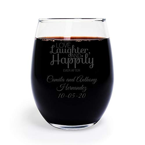 - 72 Pack Personalized Engraved Love Laughter and Happily Ever After 9 oz stemless Wine Glass, Wedding Favor,Party Favor, Anniversary Favor, Personalized Wine Glass, Bridal Shower Favors