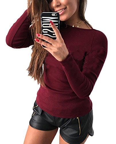 Moderne Chemisiers Rouge Rond Femmes Bandage Sexy Manches Blouse Unie Couleur Tunique Col Dos Haut Tops Nu Slim Longues T Shirt Vin vvxqTRBwn