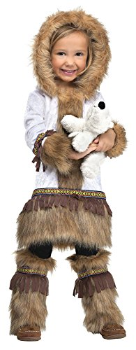 Fun World Costumes Baby Girl's Eskimo Toddler Costume, White/Brown, Large 3T - 4T]()