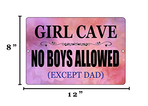 Rogue River Tactical Funny Girl Cave Metal Tin Sign Wall Decor Bar Daughter Pink No Boys Allowed Bedroom Door
