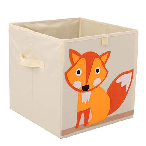 (Murtoo Toy Bin Foldable Storage Cube Box Eco Friendly Fabric Toy Storage Cubes Organizer for Kids Toy Chest, 11 Inch (Fox))