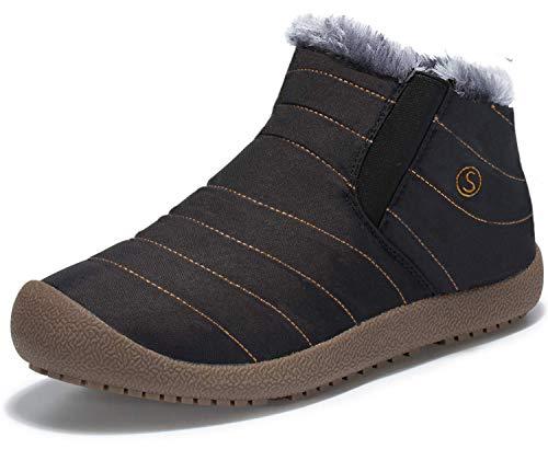 4174c371374 LSGEGO Men Women Snow Boots Fully Fur Lined Water Resistant Hiking Boots  Anti-Slip Outdoor Winter Snow Shoes Trekking Unisex (Women 12 Men 11