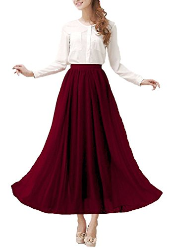 Dress Full Chiffon Skirt Prom (Afibi Womens Chiffon Retro Long Maxi Skirt Vintage Dress (X-Large, Purple Red))