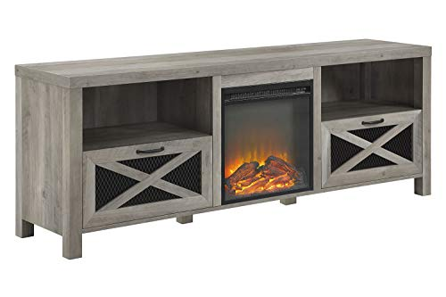 Walker Edison Furniture Company 70 Rustic Farmhouse Fireplace TV Stand – Grey Wash