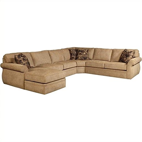 Broyhill Veronica Upholstered LAF Chaise Sectional Sofa in Green Microfiber (Broyhill Sectional Sofas)
