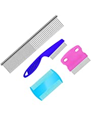 SAVITA 4Pcs Dog Comb Cat Comb Pet Grooming Comb Kit Tear Stain Remover Comb Stainless Steel Comb with Round Teeth for Pets, 4 Sizes