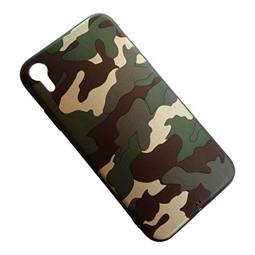 Soft Case for iPhone XR Camouflage Slim Flexible TPU Silicone Rubber Back Protective Cover Skin Snap On (Army Green) (Camera Camouflage Case)