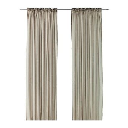 ikea cortinas establecen vivan 2 cortinas beige 300 x 145 cm con ciclos ocultos - Cortinas Beige