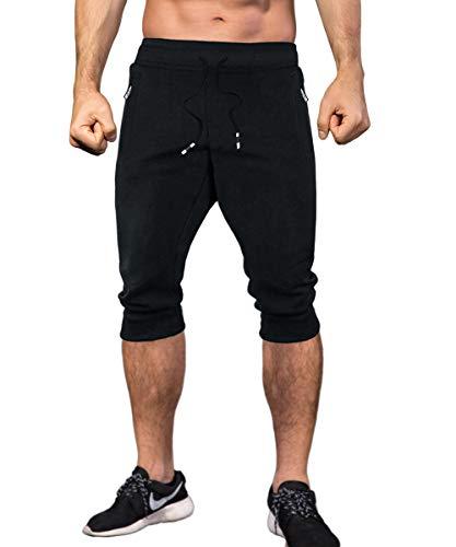 MAKEIIT Fitness Shorts Men Jogger Shorts Youth Men Excercise Shorts Mens Athletic Shorts with Zipper Pockets Mens Walking Shorts