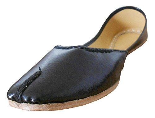 KALRA Creations Traditionelle Handgemachte Leder indischen Damen Ballerinas  Schwarz