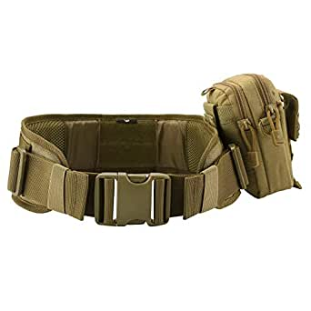 Faleto Camo Police & Military Belt with EDC Molle Utility Pouch Tactical Battle Belt Patrol Duty Blet Pouch for Hunting Game (Brown)