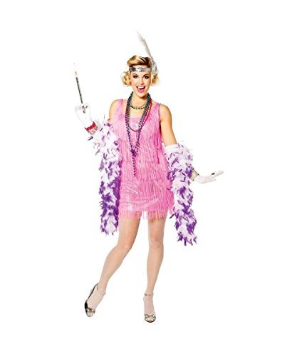 Pink Flapper Boa (Snazzy Flapper Adult Costume Neon Pink - Medium)