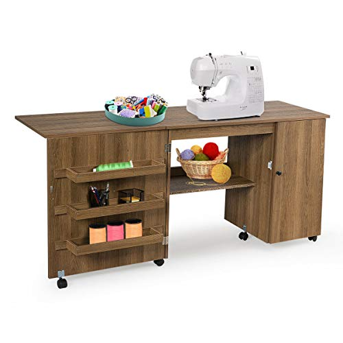 Multifunction Design Beautiful Practical Folding Spacious Desktop Extra Storage Shelf Cabinet Bin Sewing Tools Foldable Sewing Table Combine Craft Cart W/Wheels Large