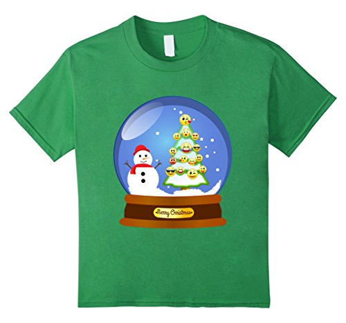 Halloween Snow Globe Costume (Kids Snowglobe Emoji Ornament Christmas Tree Snowman Gift Shirt 4 Grass)