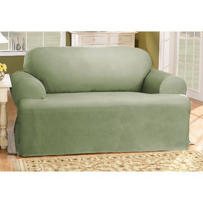 Sure Fit Cotton Duck T-Cushion Loveseat Slipcover, Sage
