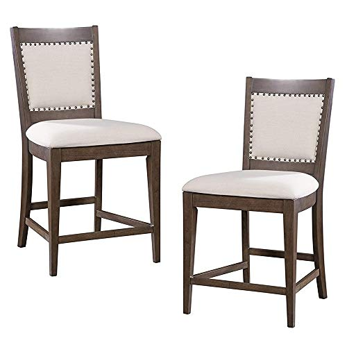 Furniture At Home Esrate Food & Wine Estate Collection Counter Height Chair, Set of 2, Dark Chocolate/Walnut