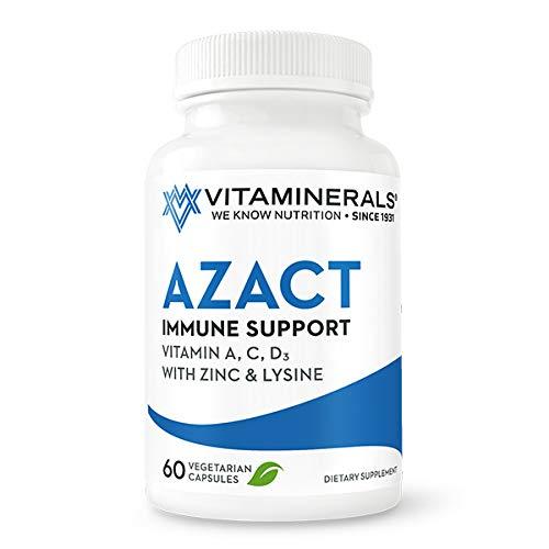 VITAMINERALS® 25 AZACT | Vitamins A, C, D3, ZINC, LYSINE, QUERCETIN | 60 Vegetable Capsules