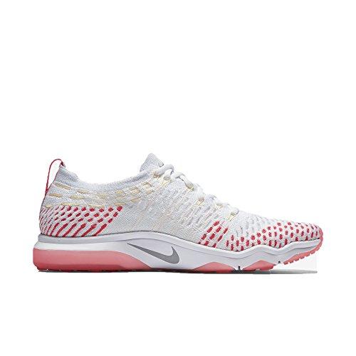Nike Womens Air Zoom Scarpe Da Allenamento Flyknit Senza Paura Bianco / Rosa Da Corsa / Melone Tinta / Grigio Lupo