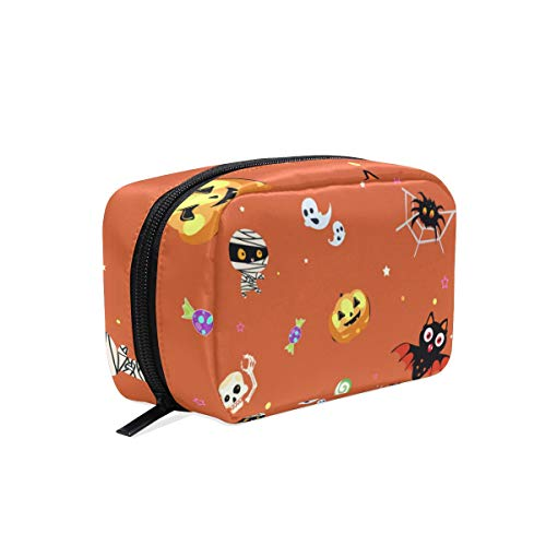 Tarity Makeup Cosmetic Bag For Women Travel Bag Organizer Halloween Mummy Pumpkin Skull Spider Ghost Train Case Toiletry Bag Cosmetic Pouch Bag Zipper Handbag Carry Case ()
