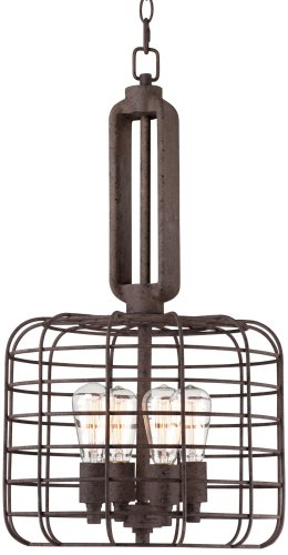 Industrial Cage 14 1/2″ Wide Rust Metal Pendant Light For Sale