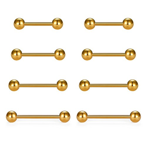 vcmart Nipple Rings Tongue Rings Stainless Steel Straight 14G Barbells Piercing Jewelry Gold 12mm,14mm,16mm,18mm