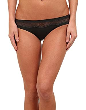 Underwear Women's Perfectly Fit with Lace Bikini Panty, Black, Small