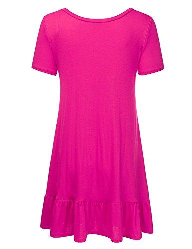Una Linea Vestito Increspato Pannello Di Bordo Delle Donne Davikey Made In Usa (s-3xl / 11 Colori) Awdsd0566_fuchsia