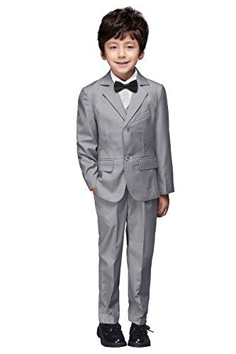 YuanLu Boys Colorful Formal Suits 5 Piece Slim Fit Dresswear Suit Set (Gray, 6)