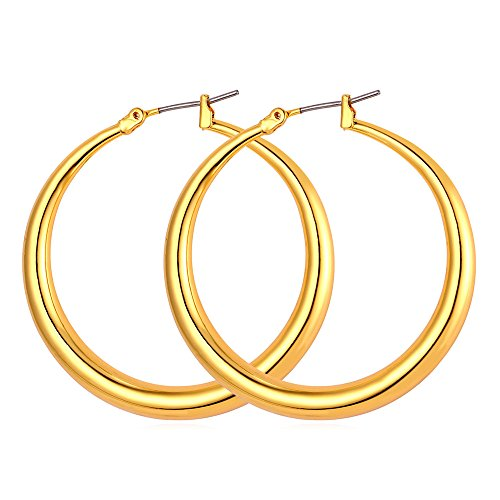 Girl Women Trendy Loop Earring 60mm 18K Gold Plated Hoop Earrings (Mm Gold Hoops 60)