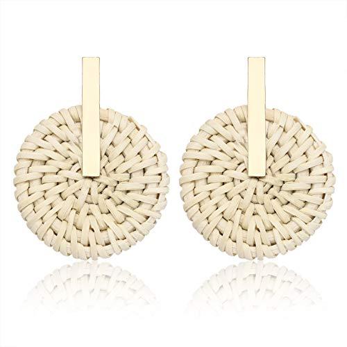 (PHALIN JEWELRY Rattan Earrings Straw Wicker Braid Drop Dangle Earrings Handmade Stud Earring for Women Girls (B Metal)