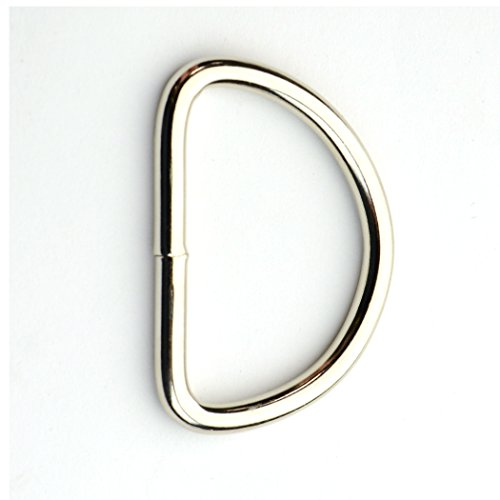 1.5 Inch D-Rings, Welded, Nickel Plated (25 Pieces)