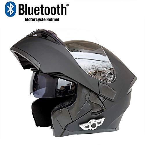 WWQY Moto Motocicleta Bluetooth Cascos Modular abatible Bluetooth Cascos D. O. T certificación Anti-Niebla Doble Espejo con...